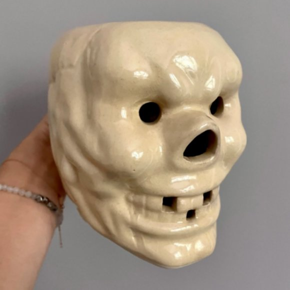 Vintage 60s Japan Tiki Skull Mug w/ Bone Handle